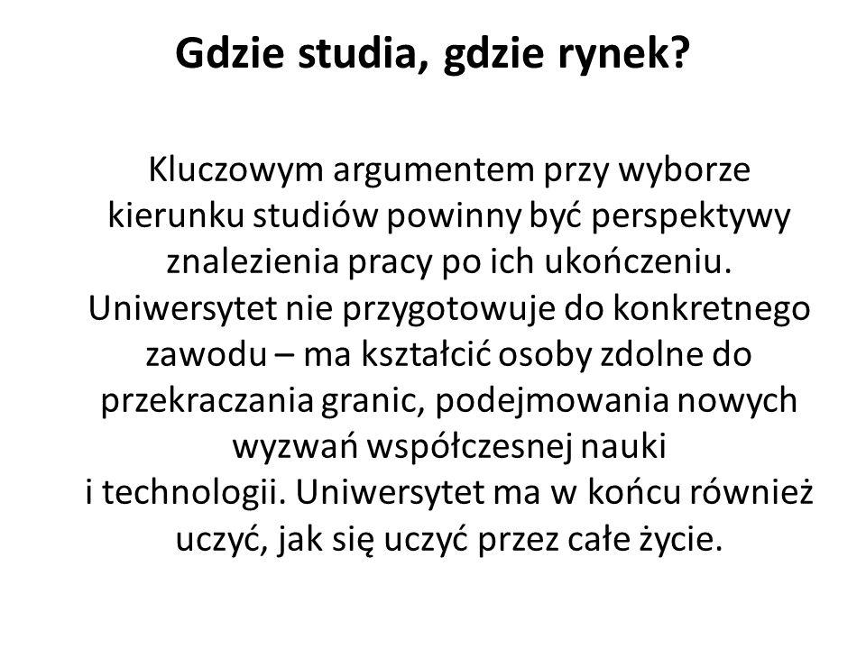 Gdzie studia, gdzie rynek? Kluczowym argumentem przy wyborze kierunku studiów powinny być perspektywy znalezienia pracy po ich ukończeniu. Uniwersytet