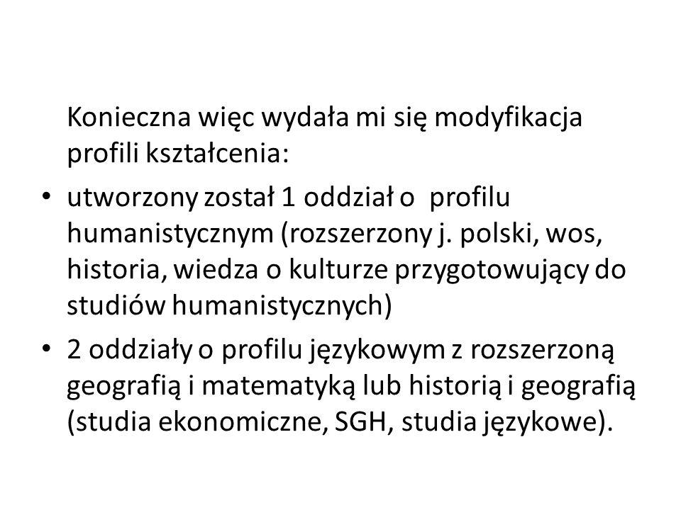 Konieczna więc wydała mi się modyfikacja profili kształcenia: utworzony został 1 oddział o profilu humanistycznym (rozszerzony j. polski, wos, histori