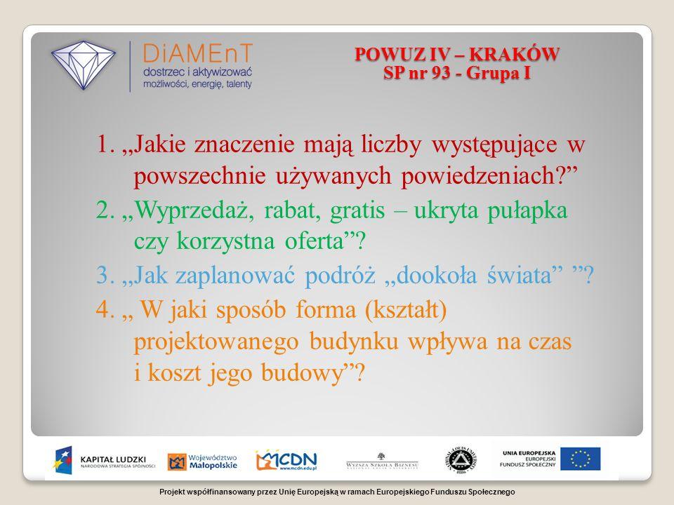 Projekt współfinansowany przez Unię Europejską w ramach Europejskiego Funduszu Społecznego POWUZ IV – KRAKÓW SP nr 93 - Grupa I 1.
