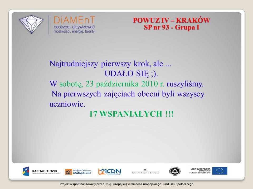 Projekt współfinansowany przez Unię Europejską w ramach Europejskiego Funduszu Społecznego POWUZ IV – KRAKÓW SP nr 93 - Grupa I Najtrudniejszy pierwszy krok, ale...