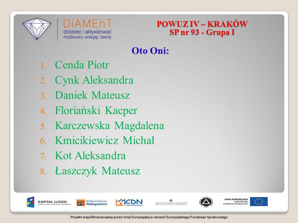 Projekt współfinansowany przez Unię Europejską w ramach Europejskiego Funduszu Społecznego POWUZ IV – KRAKÓW SP nr 93 - Grupa I Oto Oni: 1.