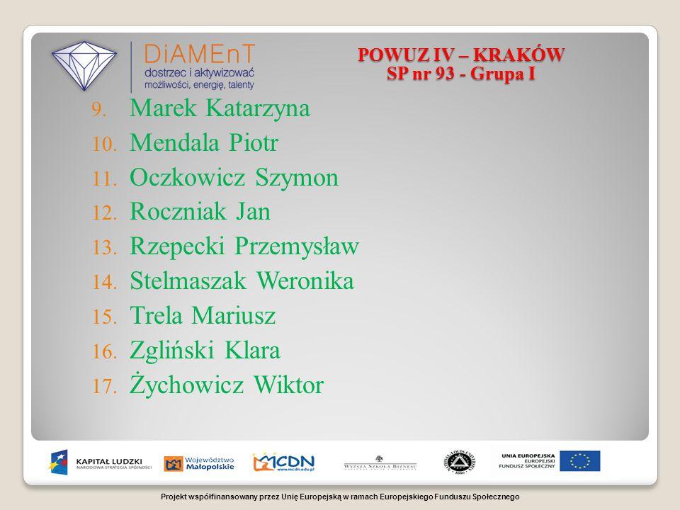 Projekt współfinansowany przez Unię Europejską w ramach Europejskiego Funduszu Społecznego POWUZ IV – KRAKÓW SP nr 93 - Grupa I 9.