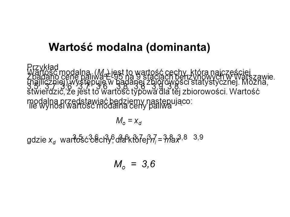 Wartość modalna (dominanta) Jeżeli materiał statystyczny podany jest w postaci szeregu rozdzielczego przedziałowego, znajdujemy najpierw przedział w o największej liczebności.