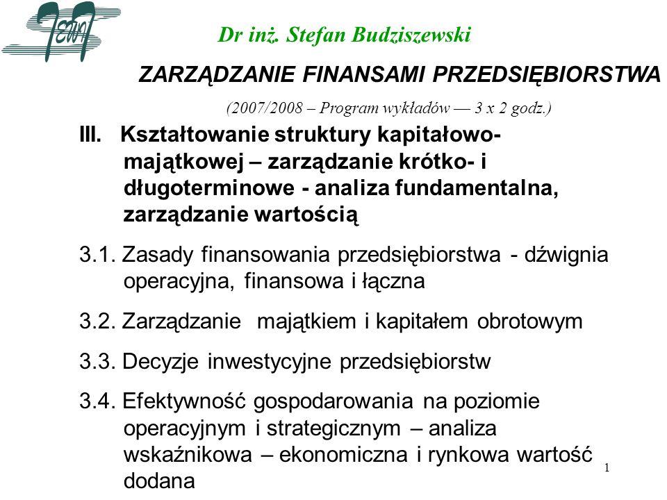 1 Dr inż. Stefan Budziszewski ZARZĄDZANIE FINANSAMI PRZEDSIĘBIORSTWA (2007/2008 – Program wykładów –– 3 x 2 godz.) III. Kształtowanie struktury kapita