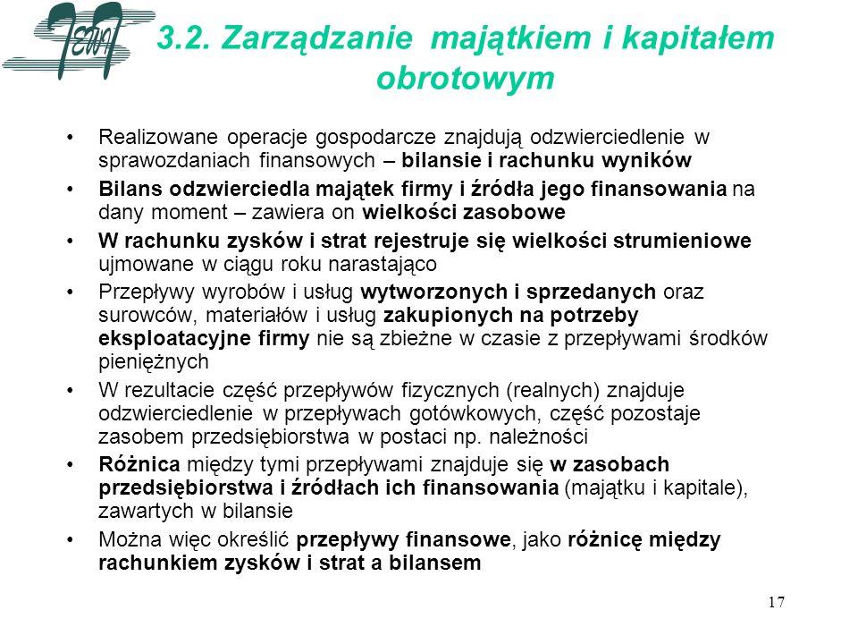 17 3.2. Zarządzanie majątkiem i kapitałem obrotowym Realizowane operacje gospodarcze znajdują odzwierciedlenie w sprawozdaniach finansowych – bilansie