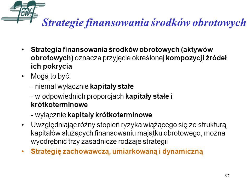 37 Strategie finansowania środków obrotowych Strategia finansowania środków obrotowych (aktywów obrotowych) oznacza przyjęcie określonej kompozycji źr