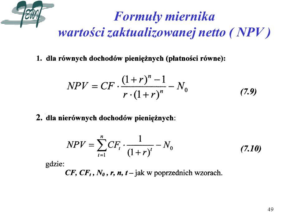 49 Formuły miernika wartości zaktualizowanej netto ( NPV )