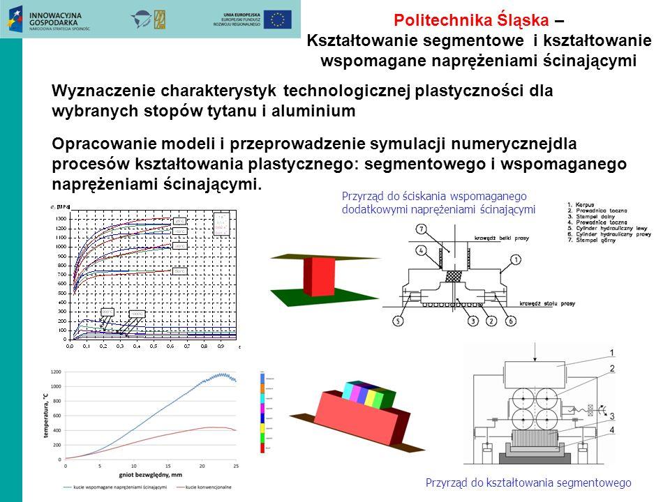 Politechnika Śląska – Kształtowanie segmentowe i kształtowanie wspomagane naprężeniami ścinającymi Wyznaczenie charakterystyk technologicznej plastycz