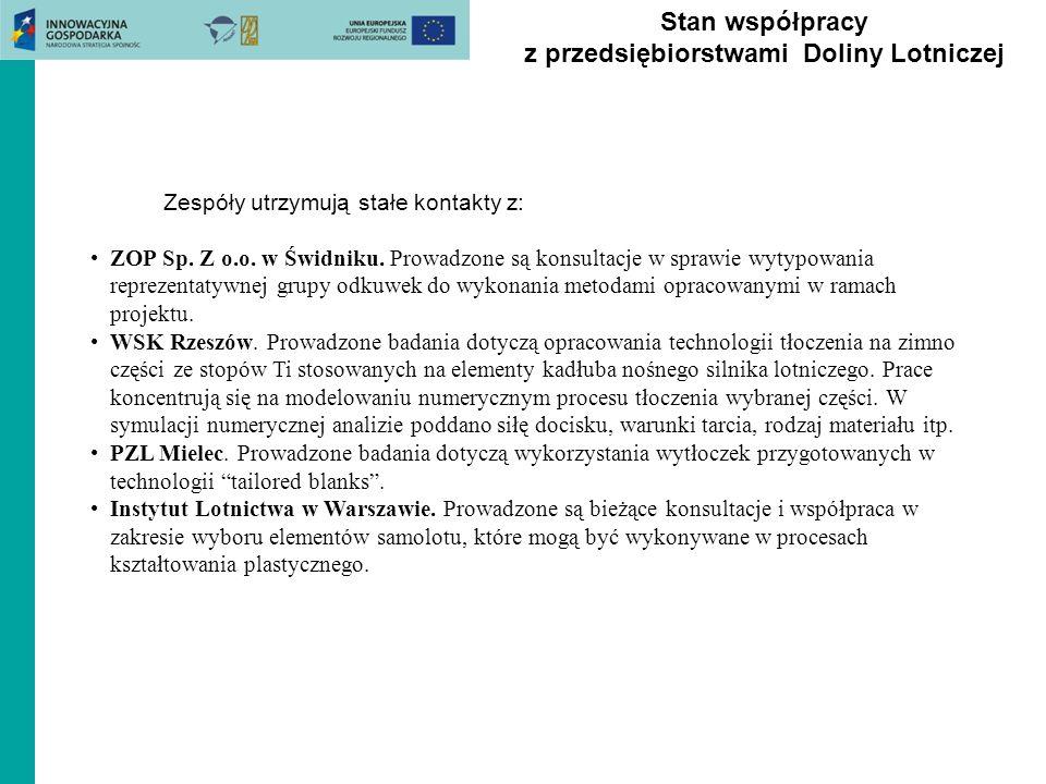 Stan współpracy z przedsiębiorstwami Doliny Lotniczej Zespóły utrzymują stałe kontakty z: ZOP Sp. Z o.o. w Świdniku. Prowadzone są konsultacje w spraw