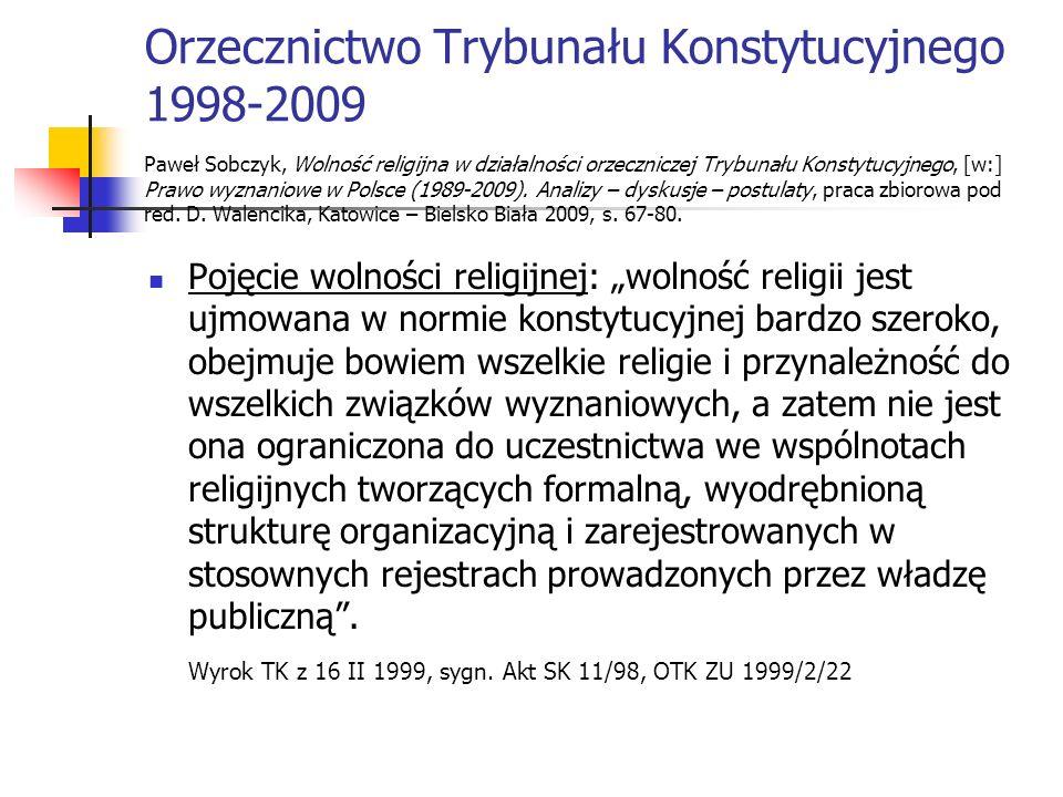 Orzecznictwo Trybunału Konstytucyjnego 1998-2009 Paweł Sobczyk, Wolność religijna w działalności orzeczniczej Trybunału Konstytucyjnego, [w:] Prawo wy
