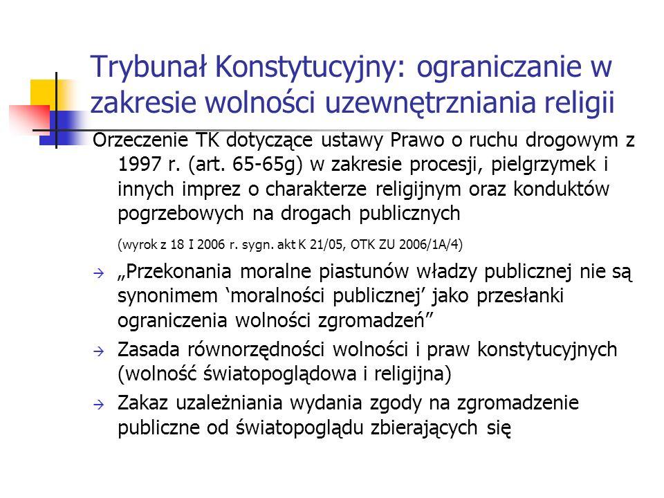 Trybunał Konstytucyjny: ograniczanie w zakresie wolności uzewnętrzniania religii Orzeczenie TK dotyczące ustawy Prawo o ruchu drogowym z 1997 r. (art.