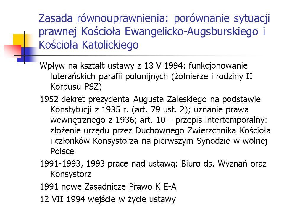 Wpływ na kształt ustawy z 13 V 1994: funkcjonowanie luterańskich parafii polonijnych (żołnierze i rodziny II Korpusu PSZ) 1952 dekret prezydenta Augus