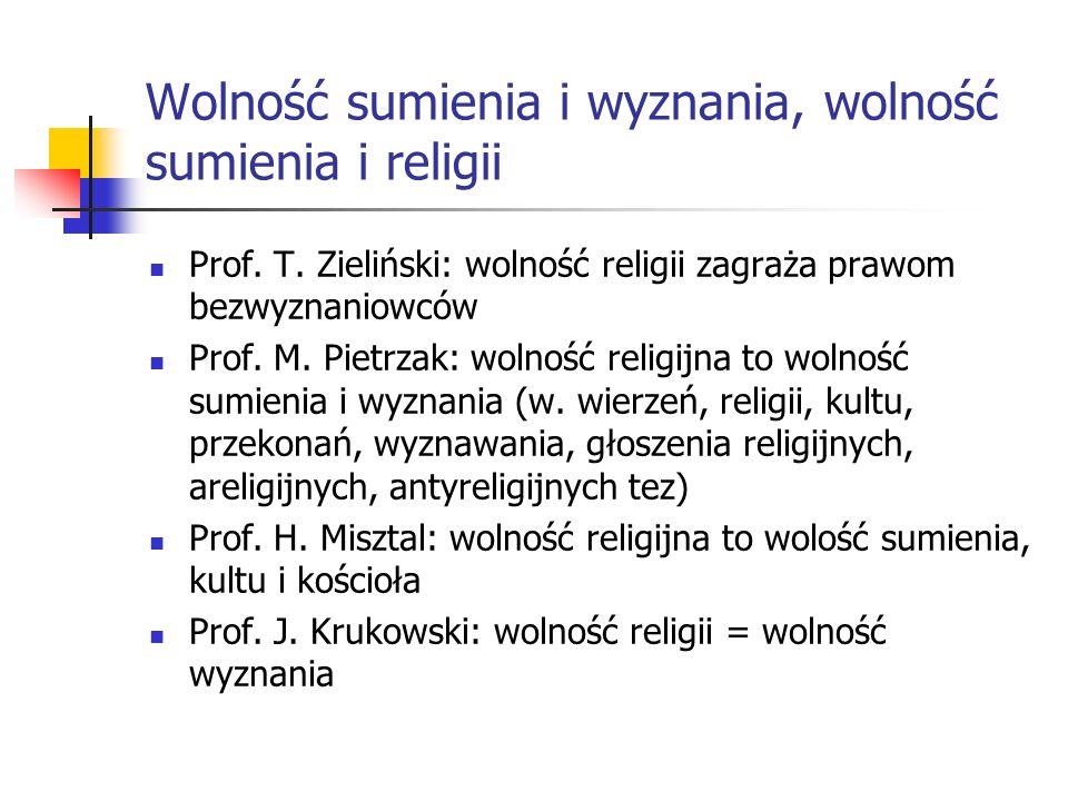 Wolność sumienia i wyznania, wolność sumienia i religii Prof. T. Zieliński: wolność religii zagraża prawom bezwyznaniowców Prof. M. Pietrzak: wolność