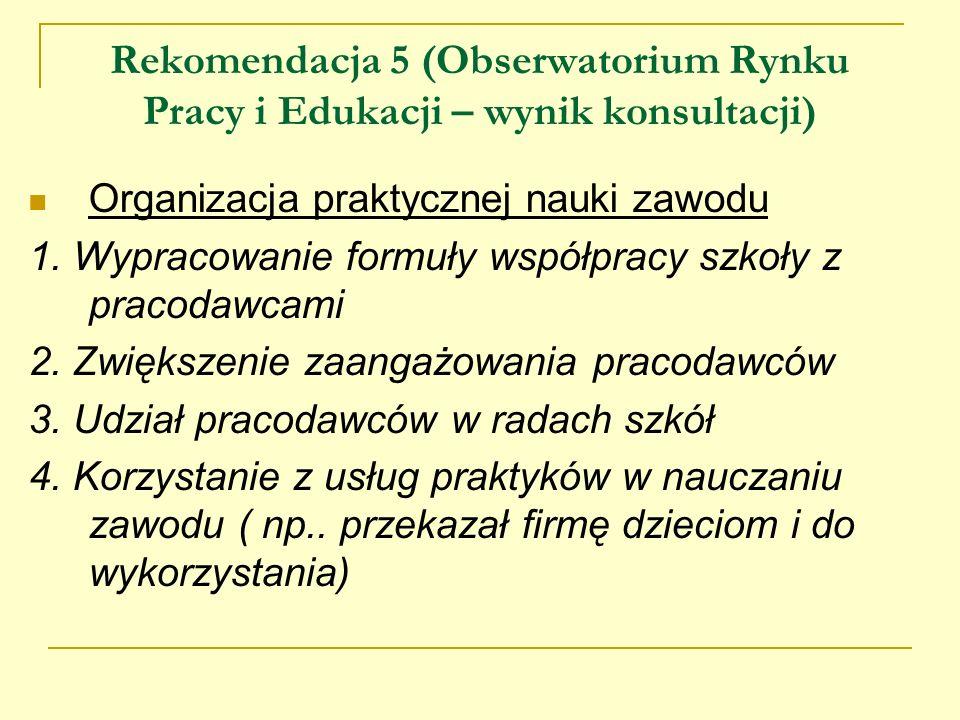 Rekomendacja 5 (Obserwatorium Rynku Pracy i Edukacji – wynik konsultacji) Organizacja praktycznej nauki zawodu 1. Wypracowanie formuły współpracy szko