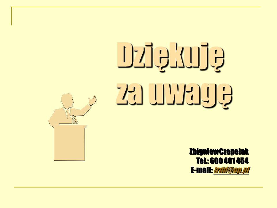 Dziękuję za uwagę Zbigniew Czepelak Tel.: 600 401 454 E-mail: trdd@op.pltrdd@op.pl Dziękuję za uwagę Zbigniew Czepelak Tel.: 600 401 454 E-mail: trdd@