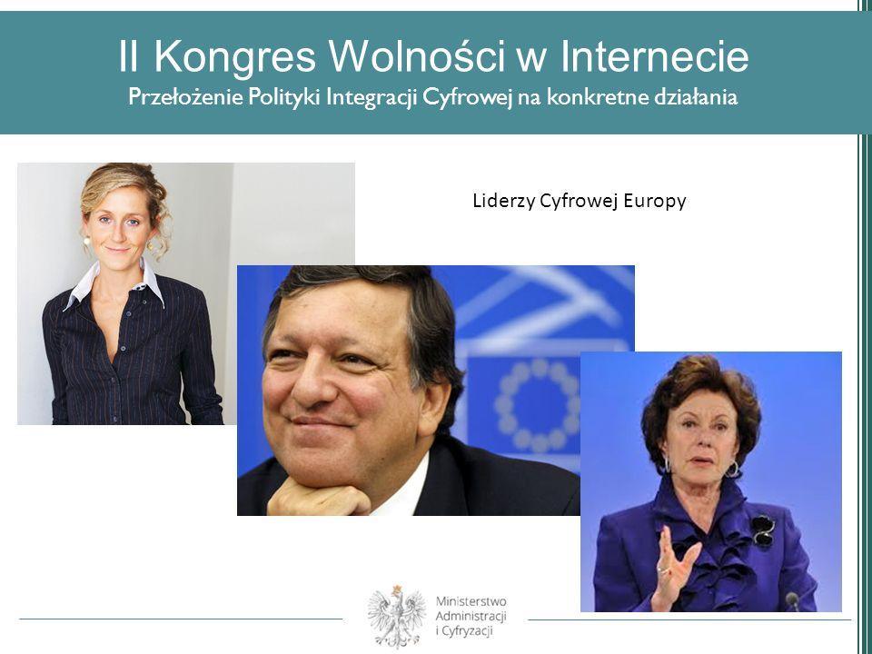 II Kongres Wolności w Internecie Przełożenie Polityki Integracji Cyfrowej na konkretne działania Liderzy Cyfrowej Europy