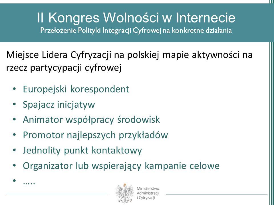 II Kongres Wolności w Internecie Przełożenie Polityki Integracji Cyfrowej na konkretne działania Europejski korespondent Spajacz inicjatyw Animator ws