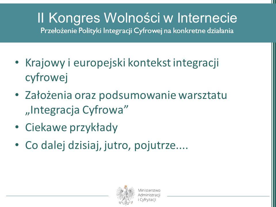 II Kongres Wolności w Internecie Przełożenie Polityki Integracji Cyfrowej na konkretne działania Krajowy i europejski kontekst integracji cyfrowej Zał