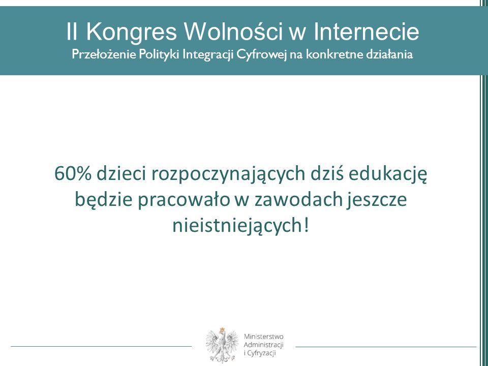 II Kongres Wolności w Internecie Przełożenie Polityki Integracji Cyfrowej na konkretne działania 60% dzieci rozpoczynających dziś edukację będzie prac