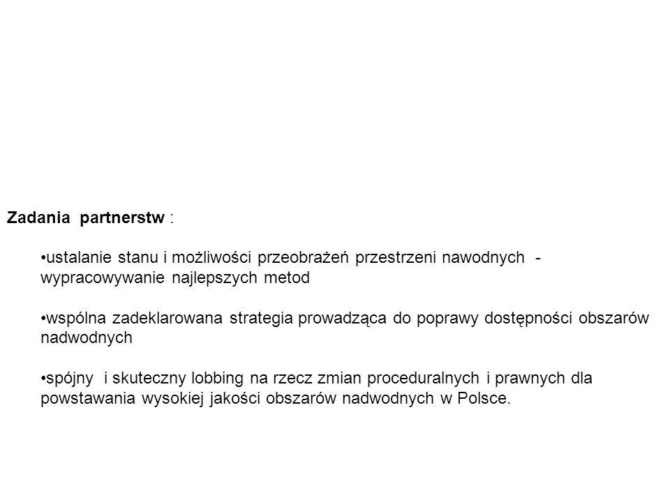 Zadania partnerstw : ustalanie stanu i możliwości przeobrażeń przestrzeni nawodnych - wypracowywanie najlepszych metod wspólna zadeklarowana strategia prowadząca do poprawy dostępności obszarów nadwodnych spójny i skuteczny lobbing na rzecz zmian proceduralnych i prawnych dla powstawania wysokiej jakości obszarów nadwodnych w Polsce.