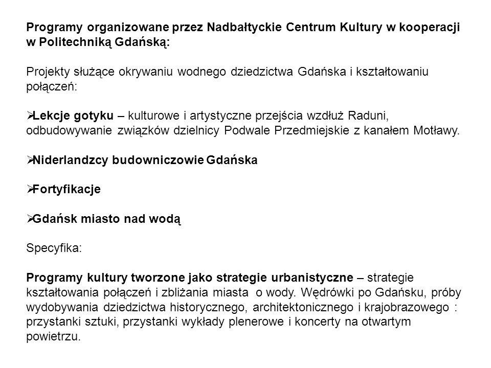 Programy organizowane przez Nadbałtyckie Centrum Kultury w kooperacji w Politechniką Gdańską: Projekty służące okrywaniu wodnego dziedzictwa Gdańska i