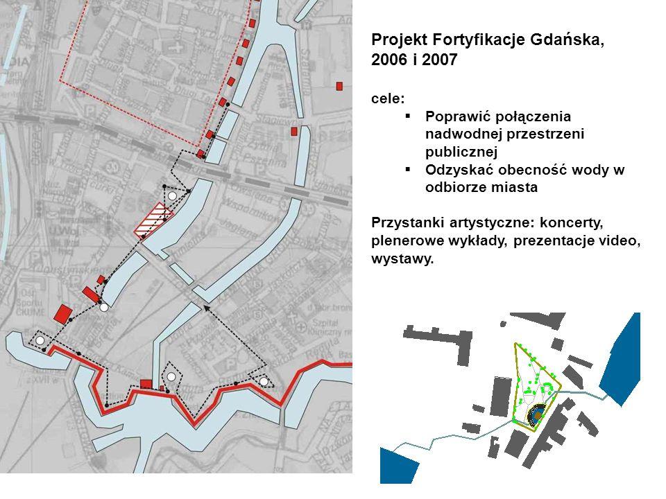 Projekt Fortyfikacje Gdańska, 2006 i 2007 cele: Poprawić połączenia nadwodnej przestrzeni publicznej Odzyskać obecność wody w odbiorze miasta Przystanki artystyczne: koncerty, plenerowe wykłady, prezentacje video, wystawy.