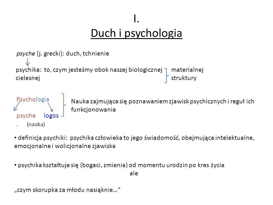 I. Duch i psychologia psyche (j. grecki): duch, tchnienie psychika: to, czym jesteśmy obok naszej biologicznej cielesnej materialnej struktury Psychol