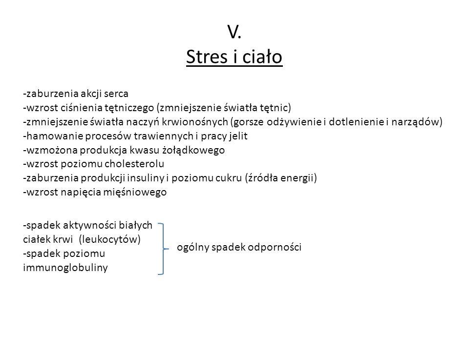 V. Stres i ciało -zaburzenia akcji serca -wzrost ciśnienia tętniczego (zmniejszenie światła tętnic) -zmniejszenie światła naczyń krwionośnych (gorsze