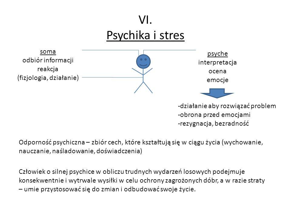 VI. Psychika i stres soma odbiór informacji reakcja (fizjologia, działanie) psyche interpretacja ocena emocje -działanie aby rozwiązać problem -obrona