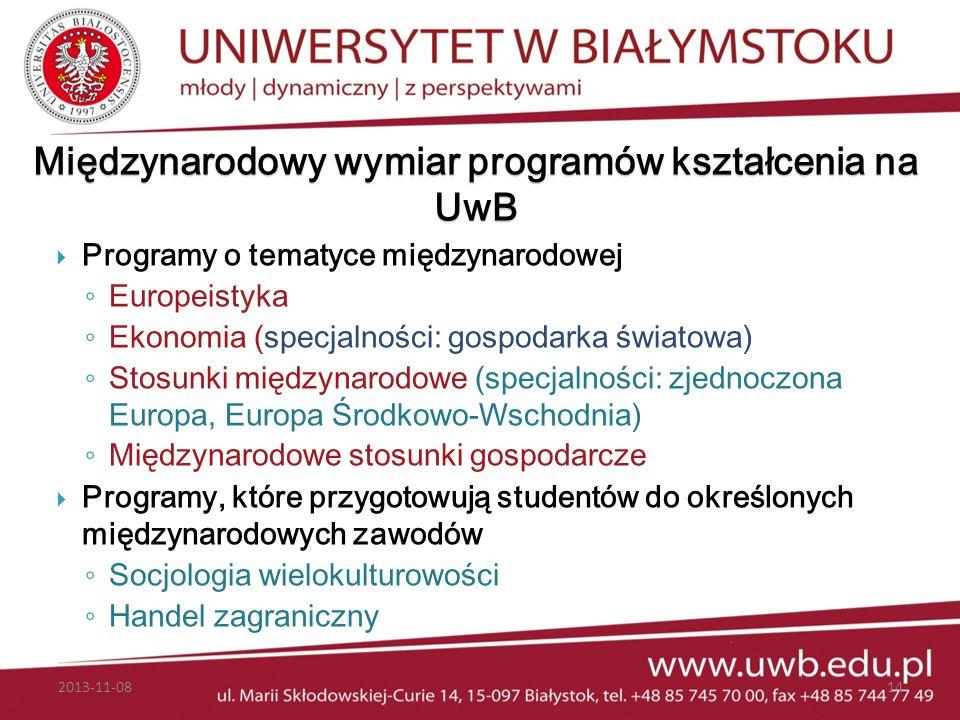 Międzynarodowy wymiar programów kształcenia na UwB Programy o tematyce międzynarodowej Europeistyka Ekonomia (specjalności: gospodarka światowa) Stosu