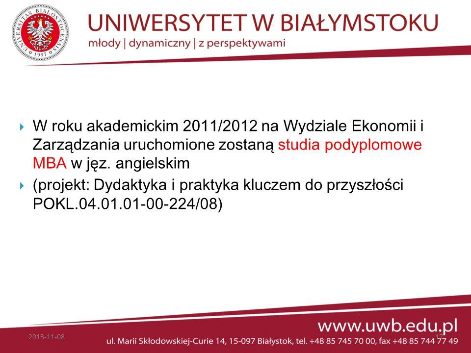 W roku akademickim 2011/2012 na Wydziale Ekonomii i Zarządzania uruchomione zostaną studia podyplomowe MBA w jęz. angielskim (projekt: Dydaktyka i pra