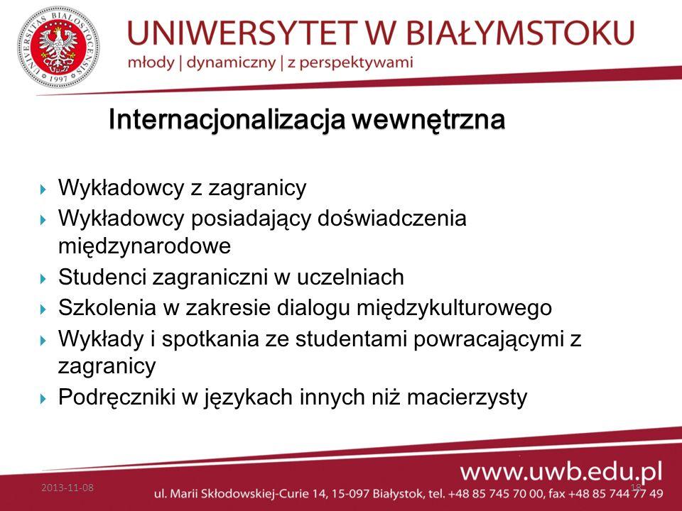 Internacjonalizacja wewnętrzna Wykładowcy z zagranicy Wykładowcy posiadający doświadczenia międzynarodowe Studenci zagraniczni w uczelniach Szkolenia