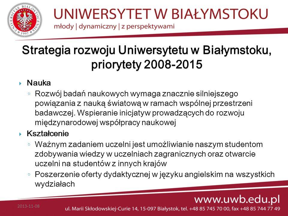 Strategia rozwoju Uniwersytetu w Białymstoku, priorytety 2008-2015 Nauka Rozwój badań naukowych wymaga znacznie silniejszego powiązania z nauką świato