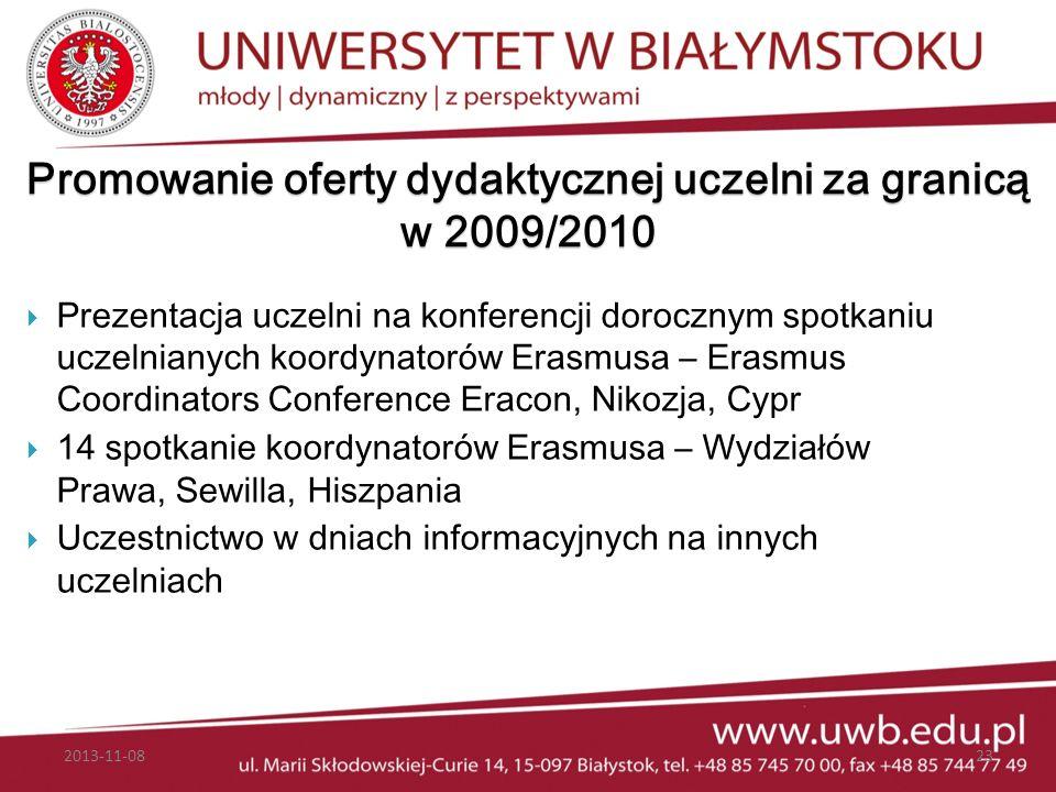 Promowanie oferty dydaktycznej uczelni za granicą w 2009/2010 Prezentacja uczelni na konferencji dorocznym spotkaniu uczelnianych koordynatorów Erasmu
