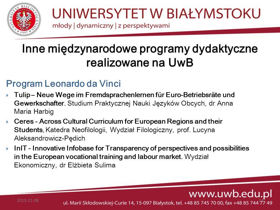Inne międzynarodowe programy dydaktyczne realizowane na UwB Program Leonardo da Vinci Tulip – Neue Wege im Fremdsprachenlernen für Euro-Betriebsräte u