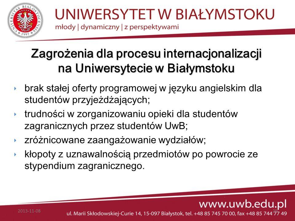 Zagrożenia dla procesu internacjonalizacji na Uniwersytecie w Białymstoku brak stałej oferty programowej w języku angielskim dla studentów przyjeżdżaj
