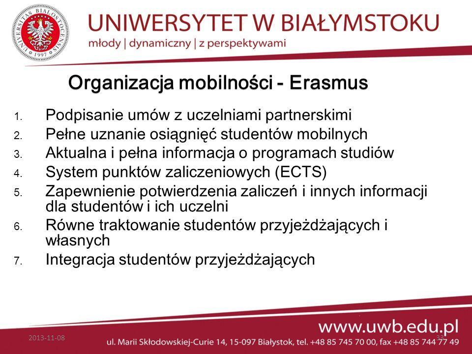 Organizacja mobilności - Erasmus 1. Podpisanie umów z uczelniami partnerskimi 2. Pełne uznanie osiągnięć studentów mobilnych 3. Aktualna i pełna infor