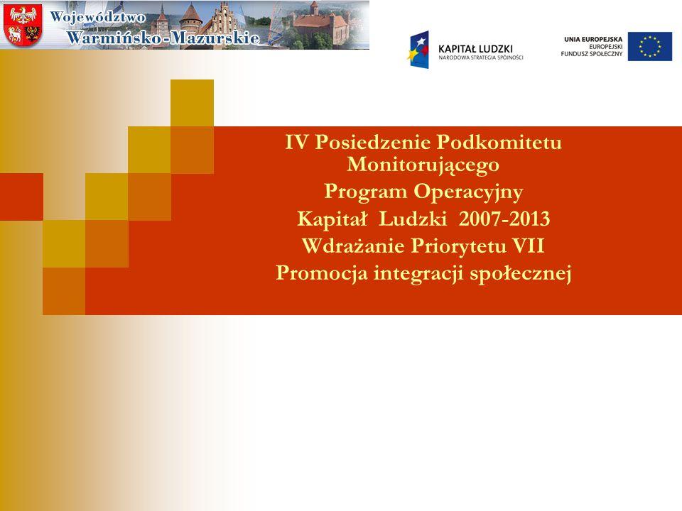 IV Posiedzenie Podkomitetu Monitorującego Program Operacyjny Kapitał Ludzki 2007-2013 Wdrażanie Priorytetu VII Promocja integracji społecznej