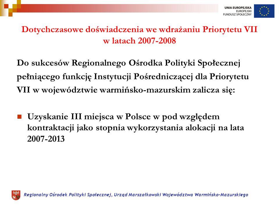 Regionalny Ośrodek Polityki Społecznej, Urząd Marszałkowski Województwa Warmińsko-Mazurskiego Dotychczasowe doświadczenia we wdrażaniu Priorytetu VII w latach 2007-2008 Do sukcesów Regionalnego Ośrodka Polityki Społecznej pełniącego funkcję Instytucji Pośredniczącej dla Priorytetu VII w województwie warmińsko-mazurskim zalicza się: Uzyskanie III miejsca w Polsce w pod względem kontraktacji jako stopnia wykorzystania alokacji na lata 2007-2013