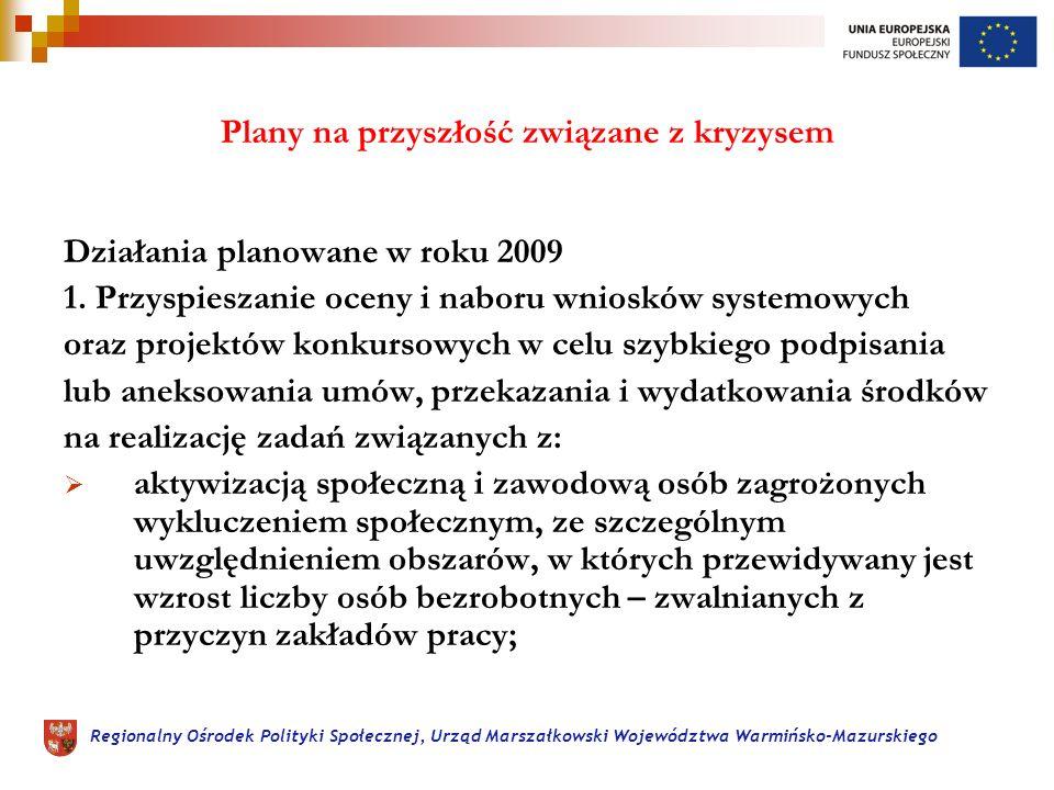 Regionalny Ośrodek Polityki Społecznej, Urząd Marszałkowski Województwa Warmińsko-Mazurskiego Plany na przyszłość związane z kryzysem Działania planowane w roku 2009 1.