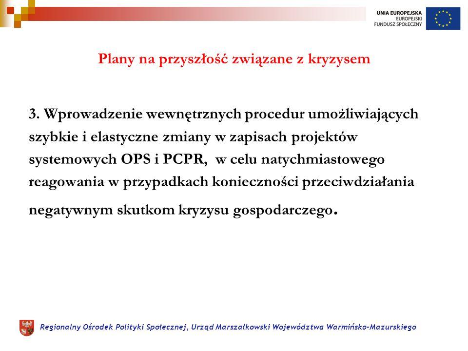 Regionalny Ośrodek Polityki Społecznej, Urząd Marszałkowski Województwa Warmińsko-Mazurskiego Plany na przyszłość związane z kryzysem 3.