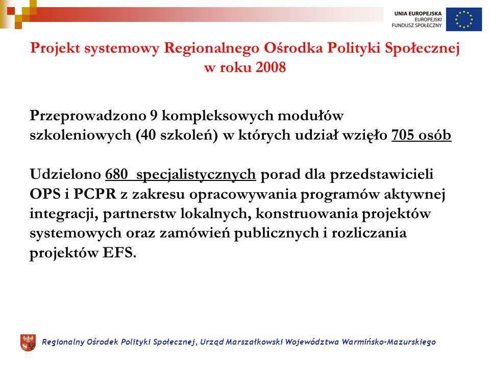 Regionalny Ośrodek Polityki Społecznej, Urząd Marszałkowski Województwa Warmińsko-Mazurskiego Projekt systemowy Regionalnego Ośrodka Polityki Społecznej w roku 2008 Przeprowadzono 9 kompleksowych modułów szkoleniowych (40 szkoleń) w których udział wzięło 705 osób Udzielono 680 specjalistycznych porad dla przedstawicieli OPS i PCPR z zakresu opracowywania programów aktywnej integracji, partnerstw lokalnych, konstruowania projektów systemowych oraz zamówień publicznych i rozliczania projektów EFS.