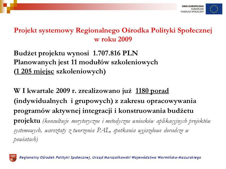 Regionalny Ośrodek Polityki Społecznej, Urząd Marszałkowski Województwa Warmińsko-Mazurskiego Projekt systemowy Regionalnego Ośrodka Polityki Społecznej w roku 2009 Budżet projektu wynosi 1.707.816 PLN Planowanych jest 11 modułów szkoleniowych (1 205 miejsc szkoleniowych) W I kwartale 2009 r.