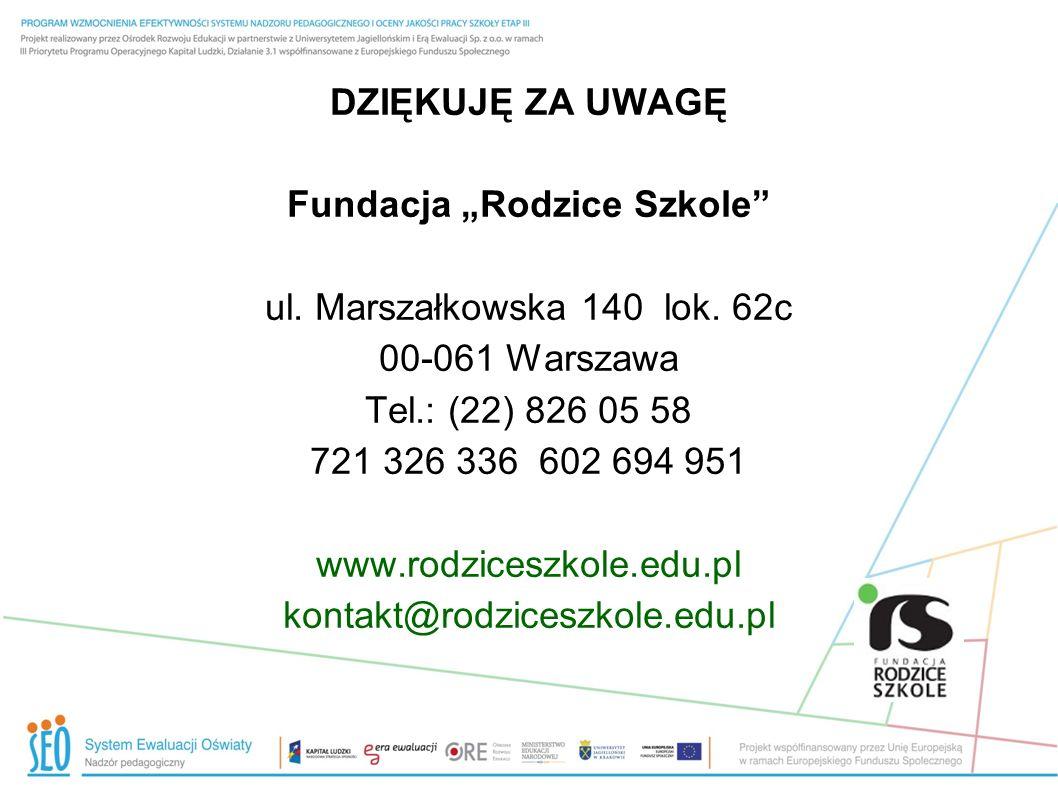 DZIĘKUJĘ ZA UWAGĘ Fundacja Rodzice Szkole ul. Marszałkowska 140 lok. 62c 00-061 Warszawa Tel.: (22) 826 05 58 721 326 336 602 694 951 www.rodziceszkol