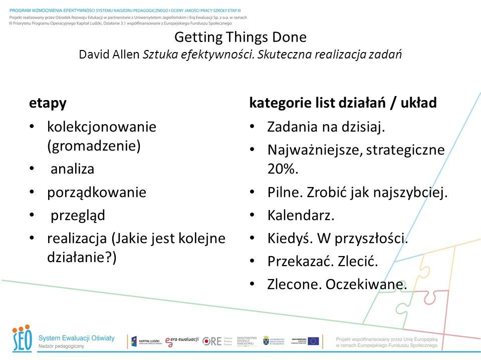 Getting Things Done David Allen Sztuka efektywności. Skuteczna realizacja zadań etapy kolekcjonowanie (gromadzenie) analiza porządkowanie przegląd rea
