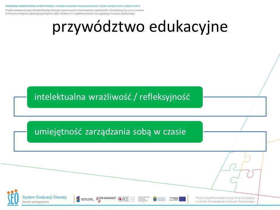 przywództwo edukacyjne intelektualna wrażliwość / refleksyjnośćumiejętność zarządzania sobą w czasie