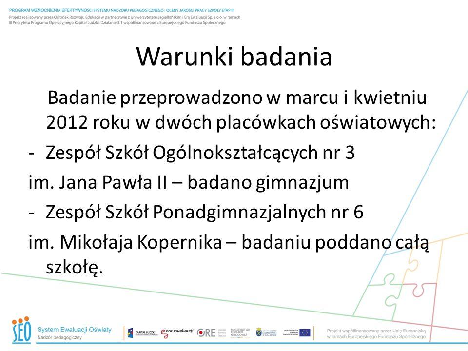 Warunki badania Badanie przeprowadzono w marcu i kwietniu 2012 roku w dwóch placówkach oświatowych: -Zespół Szkół Ogólnokształcących nr 3 im. Jana Paw