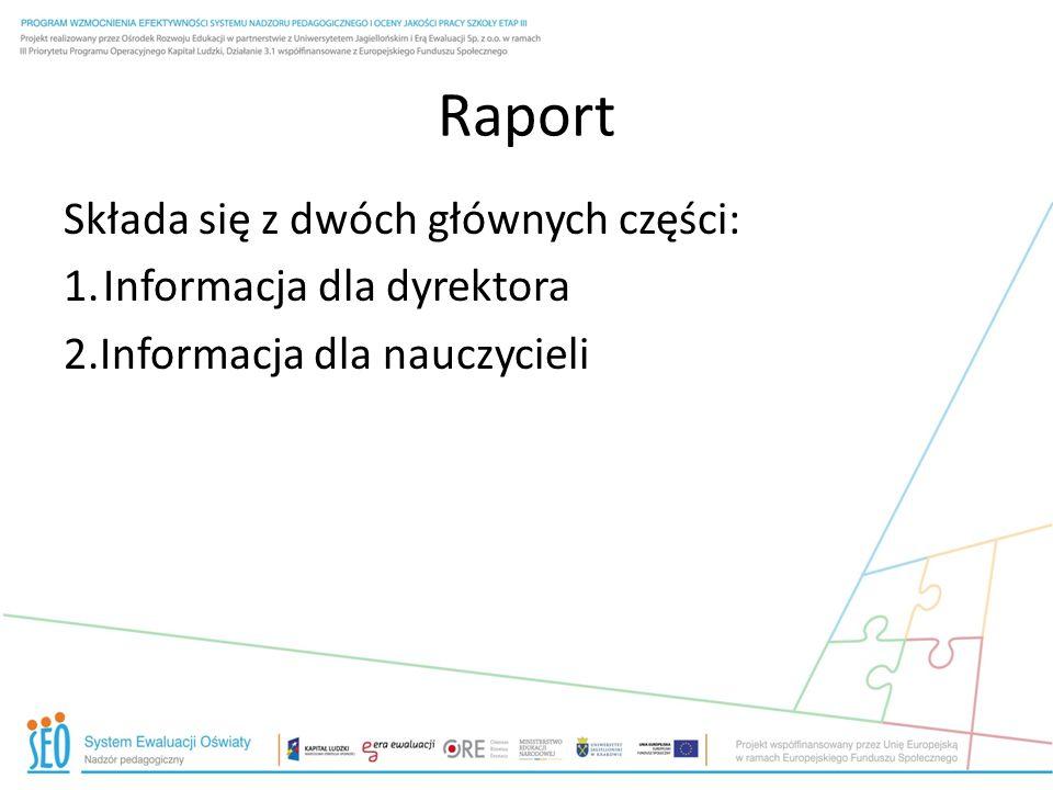 Raport Składa się z dwóch głównych części: 1.Informacja dla dyrektora 2.Informacja dla nauczycieli