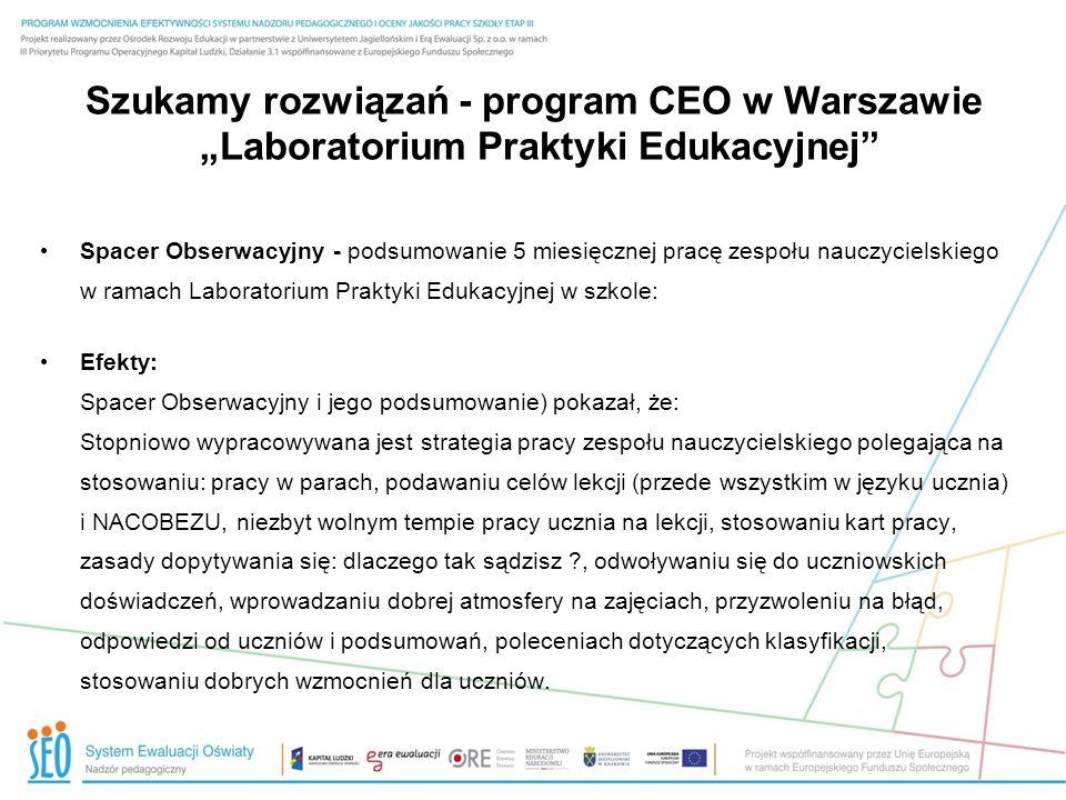 Szukamy rozwiązań - program CEO w Warszawie Laboratorium Praktyki Edukacyjnej Spacer Obserwacyjny - podsumowanie 5 miesięcznej pracę zespołu nauczycie