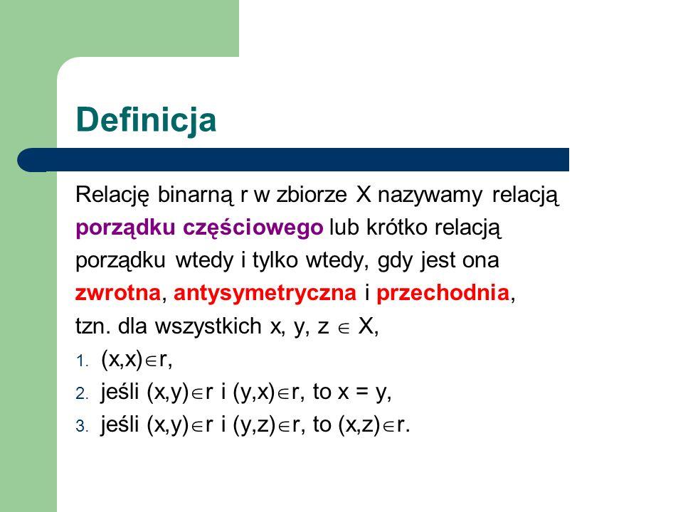 Definicja Relację binarną r w zbiorze X nazywamy relacją porządku częściowego lub krótko relacją porządku wtedy i tylko wtedy, gdy jest ona zwrotna, a